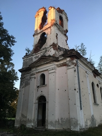 Heavily damaged Church in a small town called Smrti Croatia