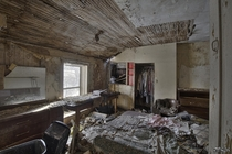 Heavily Decayed Bedroom in An Abandoned Ontario Time Capsule House