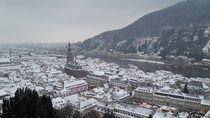 Heidelberg in winter as seen from Heidelberg Castle  by MbahGondrong