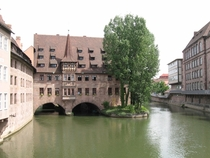 Heilig-Geist-Spital on the Pegnitz River Finished  Nuremburg Germany