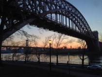 Hell Gate Bridge and Triboro Bridge April   pm Astoria NY