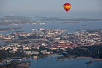Helsinki Finland and a hot air baloon