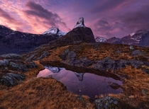 Here are some snowy mountain tops in a mid-autumn scenery Norway