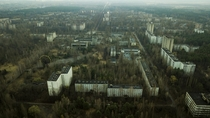 Here is a Drone Shot from Chernobyl I have a Drone tour Video is anyone is interested httpsyoutubePgyhipdpgPo
