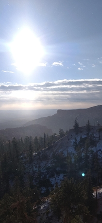 Heres Bryce canyon when it was snowing on Thanksgiving