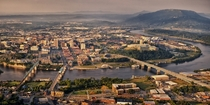 Heres my small city nestled in the beauty of the Appalachian mountains Chattanooga Tennessee