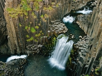 Hexagonal rocks at a waterfall in Litlanesfoss Iceland Photo by Wild Wonders of Europe