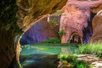 Hidden pool in Coyote Gulch near Escalante Utah