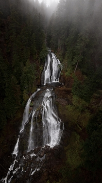 High above a waterfall in the Gifford Pinchot National Forest WA