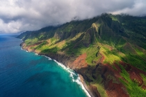High above the Napali Coast Kauai