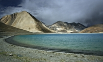 High altitude lake of Pangong Tso ft above MSL Ladakh India