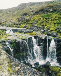 High-altitude waterfall in Scandinavian mountains northern Norway