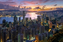 High-angle view from Victoria Peak Hong Kong