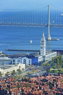 High Angle View Of Ferry Building With Bay Bridge In Background San Francisco By Mitchell Funk wwwmitchellfunkcom