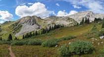 High-elevation terrain in the Maroon Bells-Snowmass Wilderness Colorado