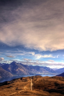 High in the mountainsQueenstown Bay Otago in south-west New Zealand