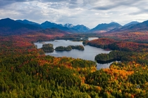 High peaks of Adirondacks with peak fall foliage Natural New York at its best