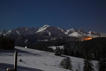 High Tatras Poland in moonlight