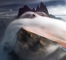 High Tide - clouds rushing over the Odle Range in the Italian Dolomites  by Max Rive