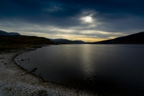 Highland Loch Beach - Clouds Giving a Mock Sunset North of Ullapool Scottish Highlands  x  OC