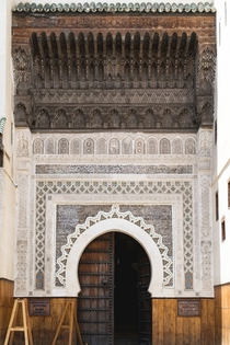 Highly detailed doorway leading into a woodwork museum - Fes Morocco