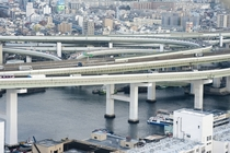 Highway flyovers above Osaka Japan