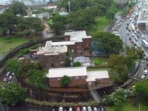 Highway on-ramp completely surrounding Fort Street School Sydney Australia