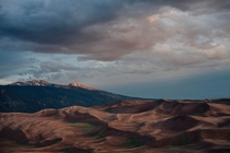 Hiked about six miles into the dunes and waited out a two hour thunderstorm in a small tent for this shot Great Sand Dunes National Park CO