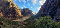 Hiked Angels landing and it was cloudy the hike back down was incredible Zion National Park is just beautiful