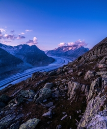 Hiked for hours to catch the sunset This was the afterglow Aletsch Glacier Switzerland  IG hansiphoto