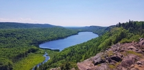 Hiked  miles just to witness this beauty Its the Lake of Clouds located in the porcupine mountains wilderness state park in the upper peninsula of US in Michigan