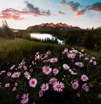 Hiked  minutes in a slight chill for this shot Crested Butte CO sunrise over Lake Irwin
