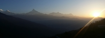 Hiked the Himalayas last week in Nepal Got a good panoramic shot of sunrise on the Anapurna Mountain circuit using my phone