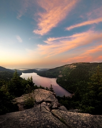 Hiked to the top of North Bubble at am to watch the sunrise Acadia National Park Maine