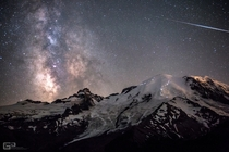 Hikers on Mount Rainier at night