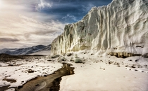 Hiking along a -mile glacier in the Dry Valleys of on the main continent of Antarctica