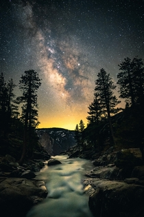 Hiking  hours up a mountain through the pitch black dark leads you to scenes such as this Yosemite Ca