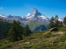 Hiking in Zermatt Switzerland with views of the Matterhorn OC