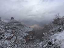 Hiking out of the Grand Canyon it started snowing about halfway up