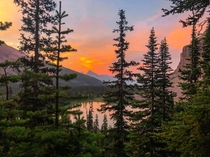 Hiking out to Rockbound Lake to watch the sunrise from the middle of Castle Mountain we turned back to see this amazing scene over Tower Lake Ab