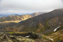 Hiking up the highlands in Landmannalaugar Iceland
