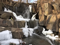 Hiking with a breathless view of a wintry flowing waterfall - Palisades Interstate Park Englewood Cliffs part NJ