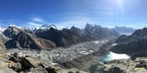 Himalayan Panorama including Mt Everest and other big peaks taken from the summit of Gokyo Ri