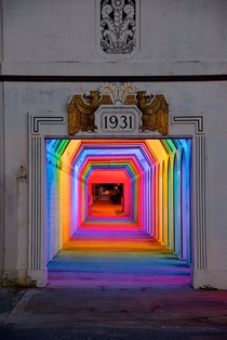 Historic pedestrian underpass retrofitted with colorful LED lighting