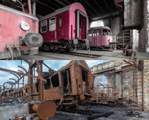 Historical trains before and after the fire - Germany