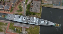 HMS Duncan squeezing into a Cardiff dock