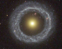 Hoags Object  galaxies in one merged  inside of it