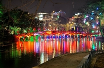 Hoan Kiem Lake by night Hanoi Vietnam