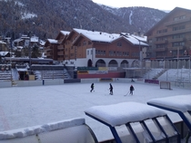 Hockey Rink in the center of Zermatt Switzerland