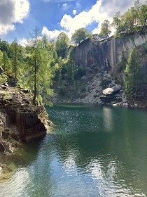 Hodge Close Quarry in the UK Took this last summer but didnt realise how nice this picture was I sat and ate lunch on the rock where the sun hits